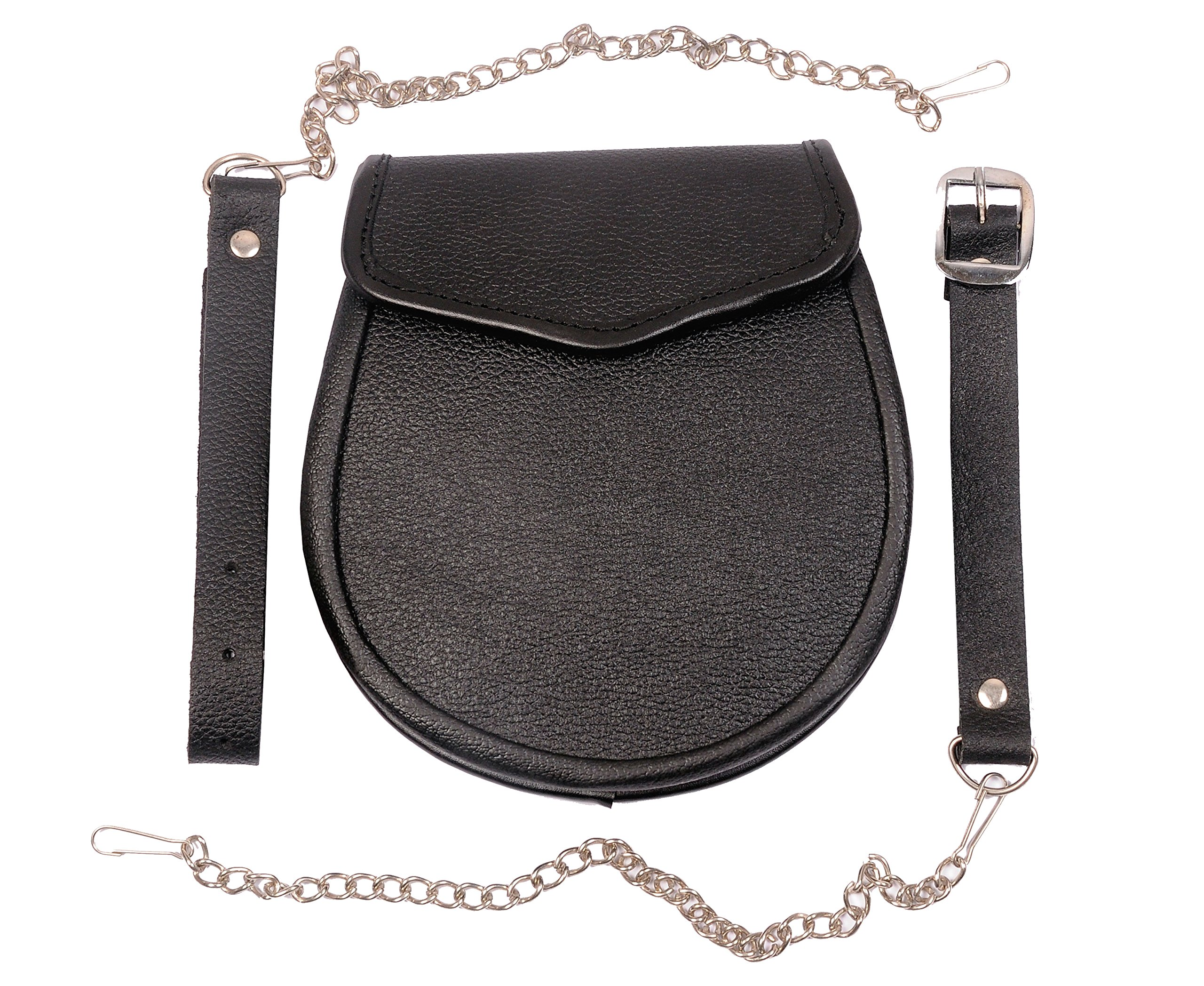 Plain Black Day wear Kilt Sporran w/ Belt