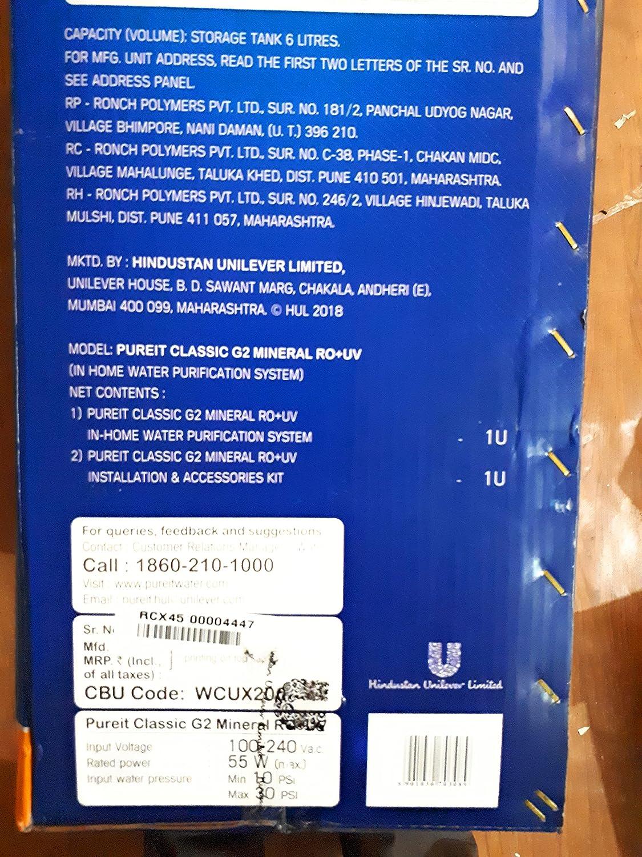 Pureit Meniral Classic Ro Uv Home Kitchen Water Purifier 9l