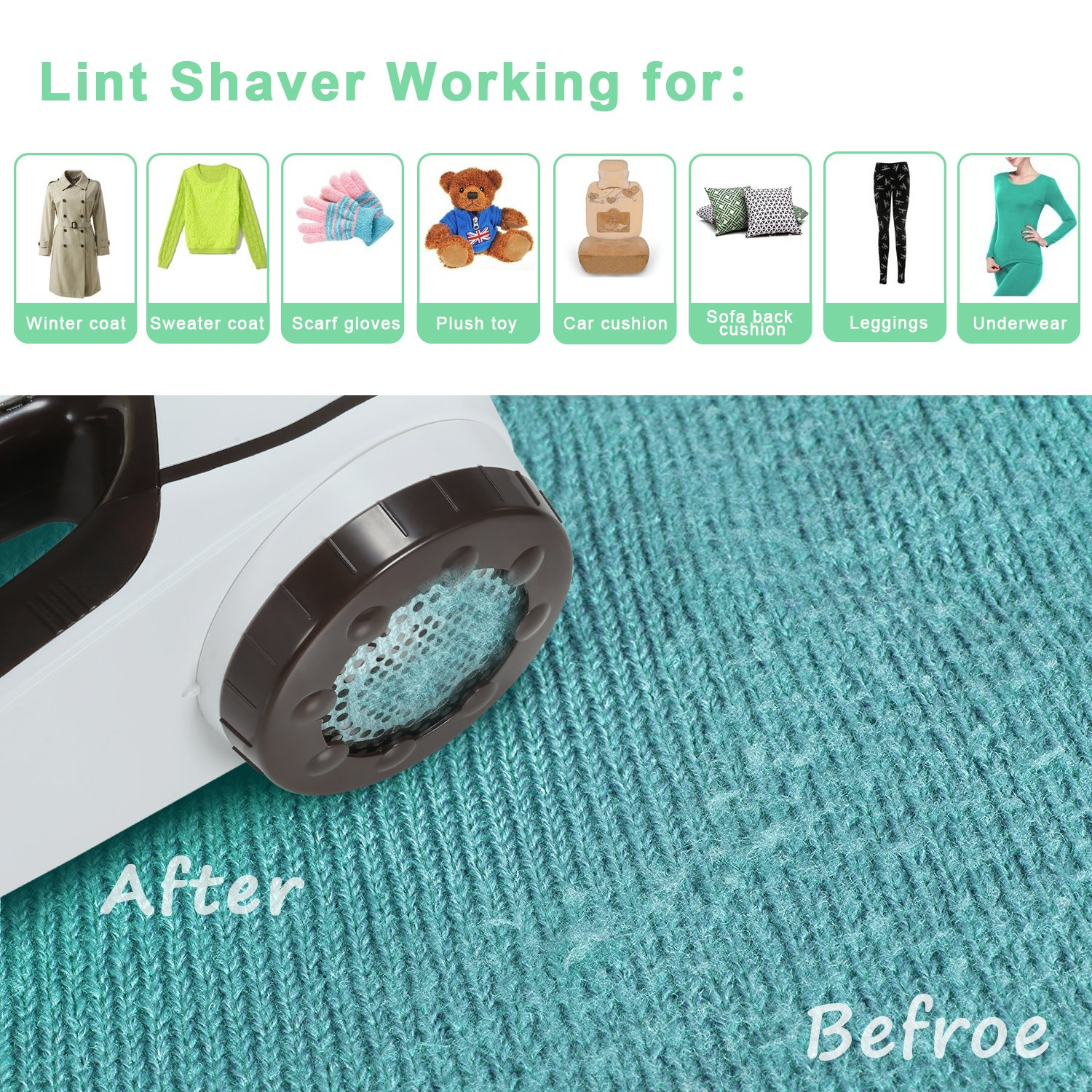Lint Remover Electric HOMEASY Rechargeable Fabric Shaver Fuzz Bobbles Removing Machine for Sweater Clothes Knitwear Carpet Blankets etc [2 Years Warranty]