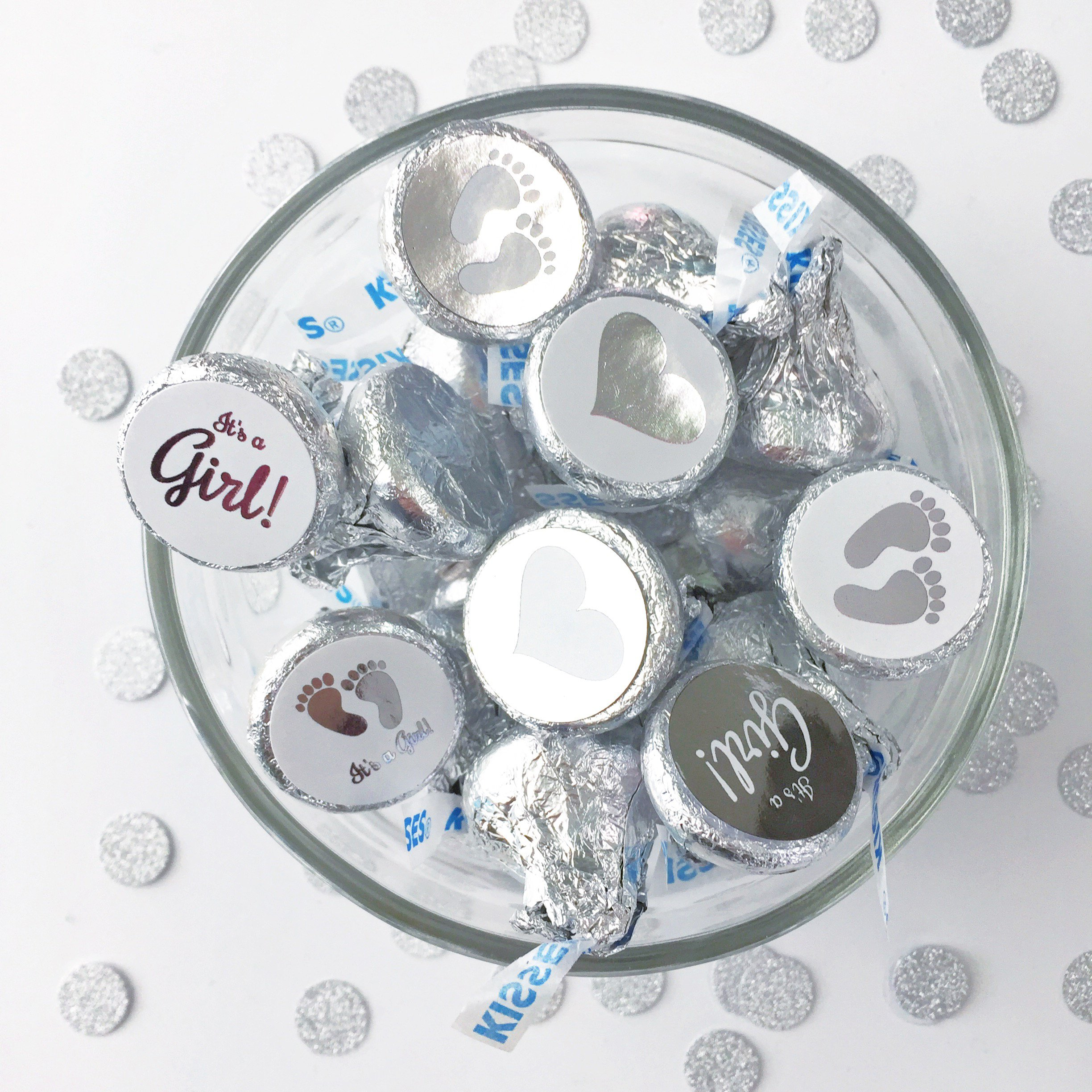 """100- .75"""" Silver Foiled Baby Shower"""
