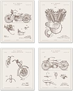 Harley Davidson Patent Prints - Set of 4 (8 inches by 10 inches) Wall Decor Matte Photos