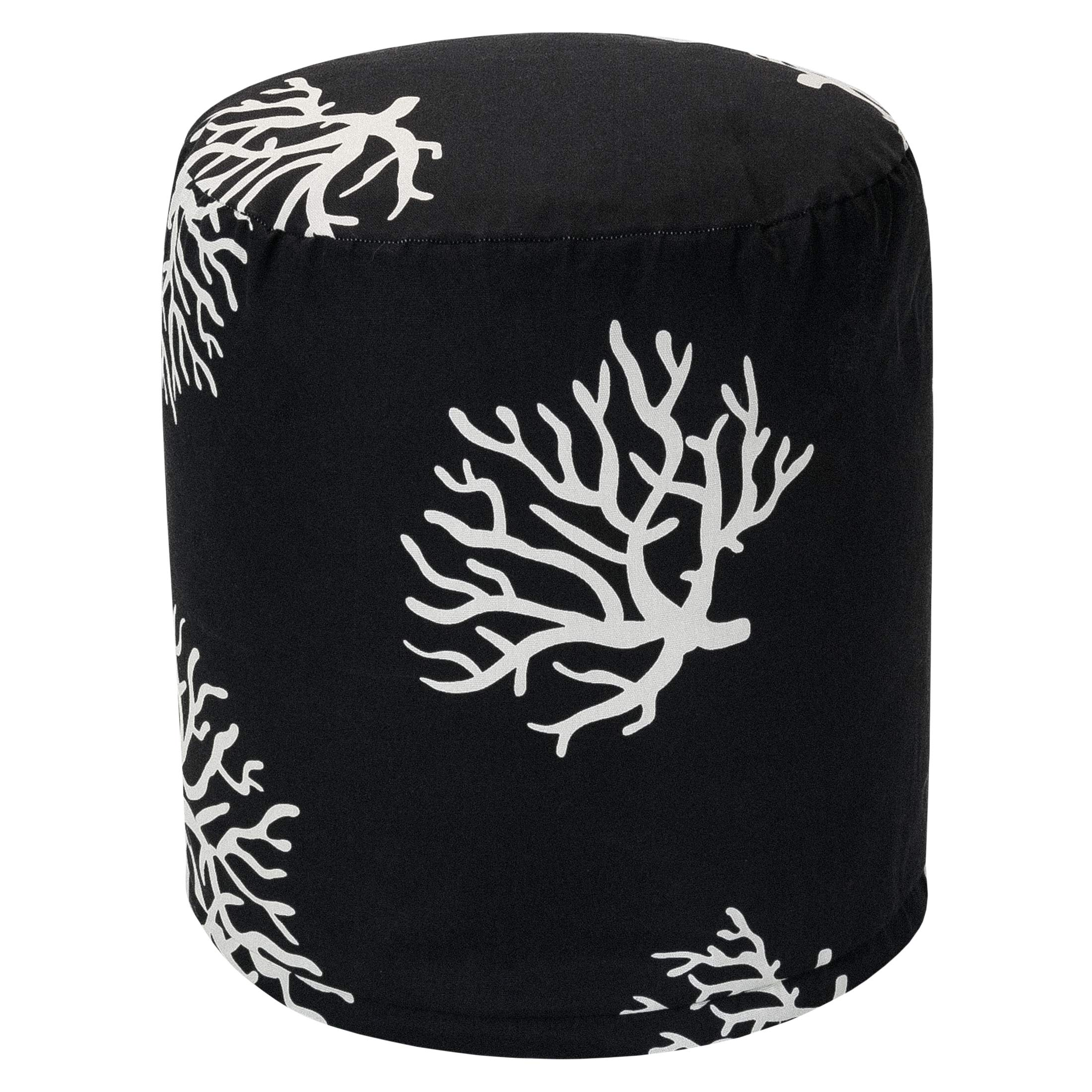 Majestic Home Goods Black Coral Indoor/Outdoor Bean Bag Ottoman Pouf 16'' L x 16'' W x 17'' H