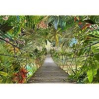 Komar Fotobehang 3D-8-977, Jungle-Bridge behang, regenwoud wanddecoratie, jungle, tropic rainforest brug, groen, 368 x…