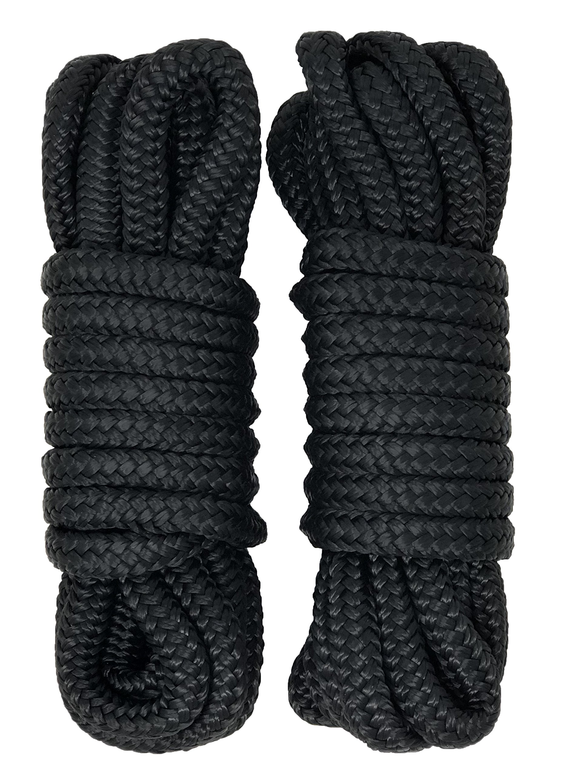 Rainier Supply Co Dock Lines - 2 Pack 15' Double Braided Nylon Dock Line/Mooring Lines - Ultra Strong and Soft - Boat Accessories - 15' x 3/8'' with 12'' Eyelet, Black by Rainier Supply Co
