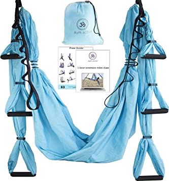 Yoga Hammock Swing Trapeze Set: Ultra Strong Hammock Swing, Large Comfy Handles, Extension Straps + Inversion Video & Pose Guide - Tool for Aerial ...