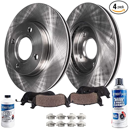 Amazon.com: Detroit Axle - (2) Front Disc Brake Rotors & (2) Ceramic Pads w/Clips Hardware Kit & BRAKE CLEANER & FLUID - Full Front Kit: Automotive