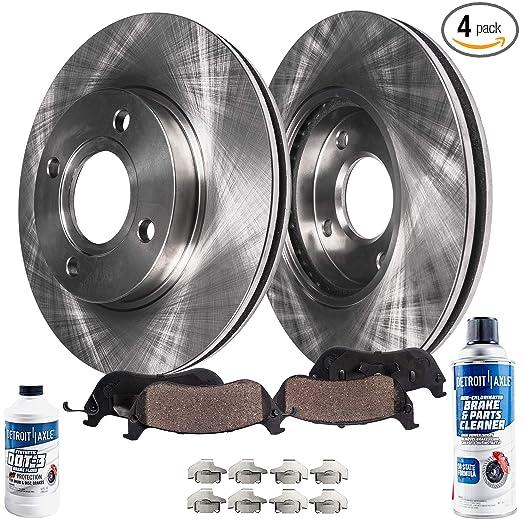 Amazon.com: Detroit Axle - (2) Front Disc Brake Rotors & (2) Ceramic Pads w/Clips Hardware Kit & BRAKE CLEANER & FLUID - Full Front Kit: Automotive