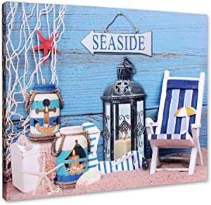 BetyHom Bathroom Canvas Beach Wall Art ,Nautical Beach Seaside Theme Wall Decoration with Lighted Candles LED (15.8x11.8)In