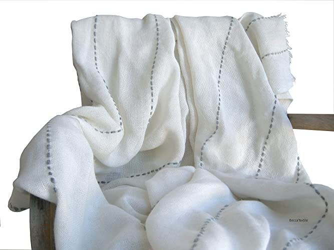 Manta decorativa blanca con bordado gris, Manta ligera para ...