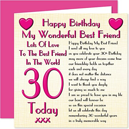 Pleasant Best Friend 30Th Happy Birthday Card Lots Of Love To The Best Personalised Birthday Cards Veneteletsinfo