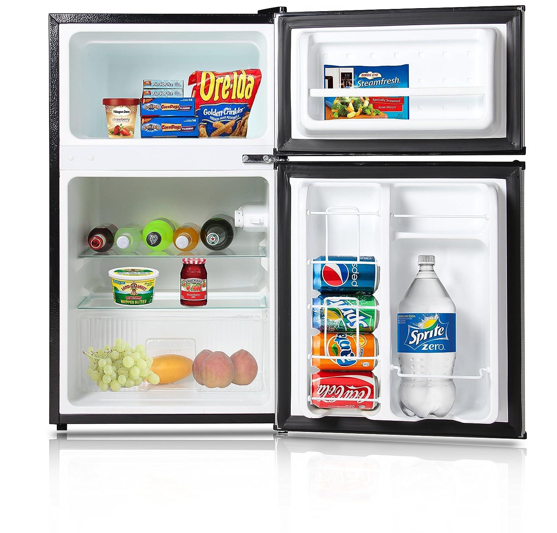Amazon.com: Keyton A1 3.1CFDDSS Refrigerator U0026 Freezer With Double Doors    3.1 Cubic Feet, Compact, Adjustable Legs, Interior Light U0026 Adjustable  Thermostat ...