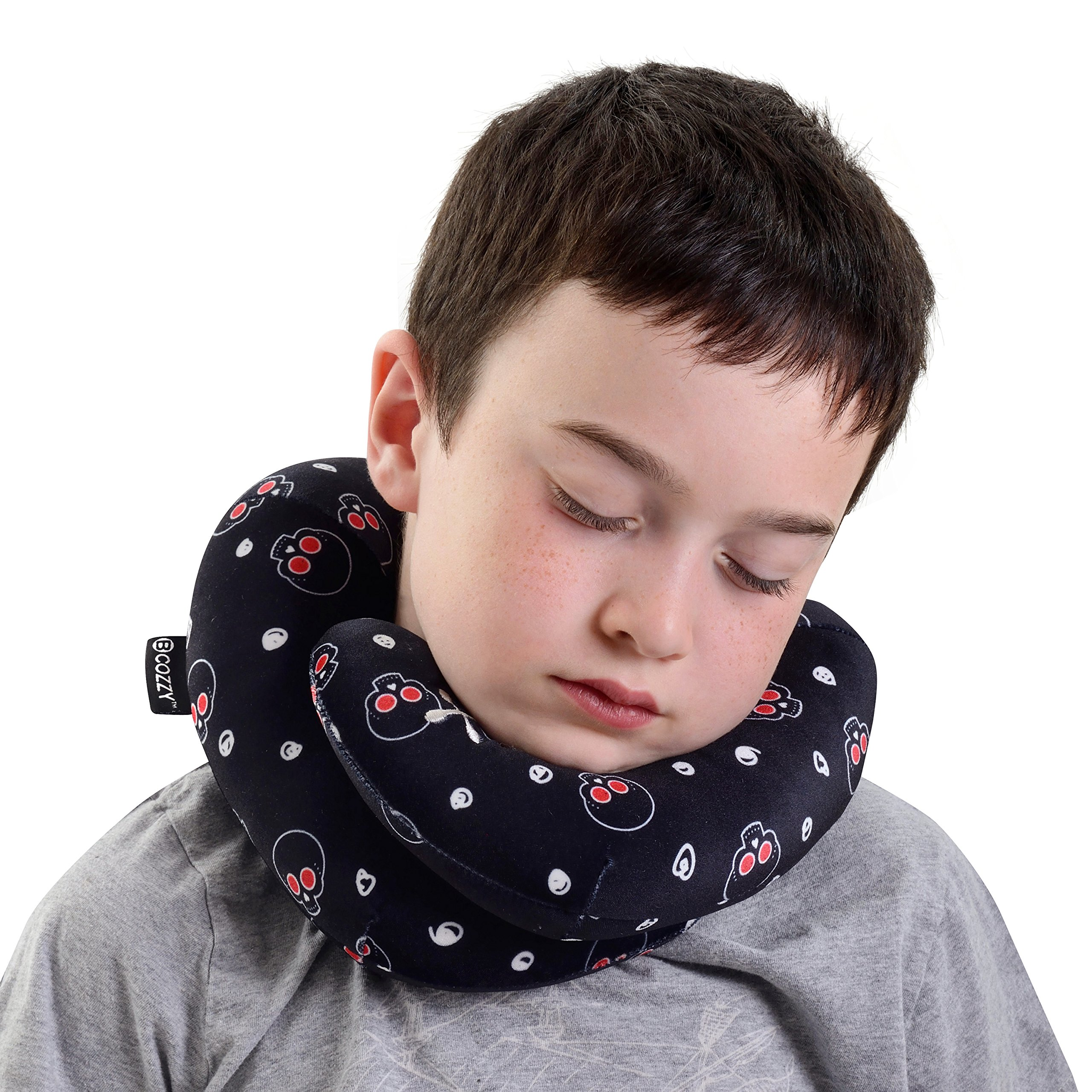 BCOZZY Kids Chin Supporting Travel Neck Pillow - Supports The Head, Neck Chin in in Any Sitting Position. A Patented Product. Child Size, Black Skulls