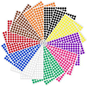 "3000 Pack, 0.375"" Round Color Coding Circle Dot Sticker Labels - 10 Assorted Colors"
