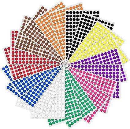 1cm Gomets Colores Pegatinas Redondo Adhesivos - 10 Colores, Pack ...