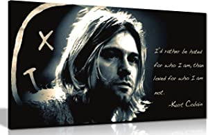 Panther Print, Large Canvas Wall Art | Beautiful Living Room and Bedroom Framed Art, Superb Quality Picture Prints for Walls | Nirvana Memorabilia, Kurt Cobain Rather Be Hated Quote | Unique Gifts for Christmas and Special Occasions