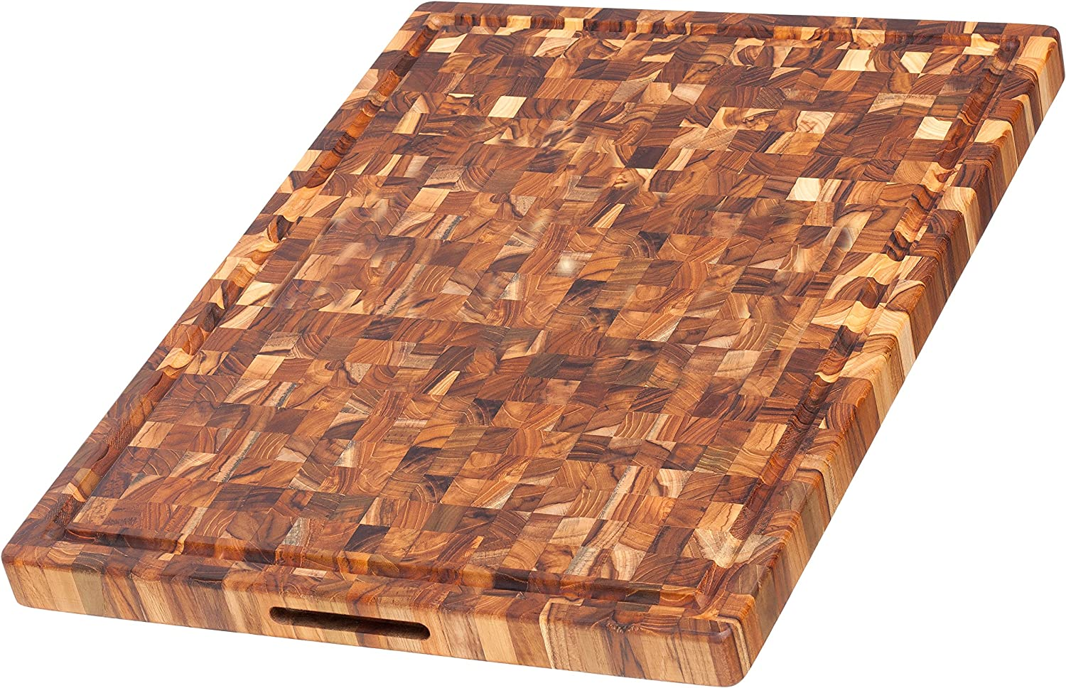 Teak Cutting Board Rectangle Butcher Block With Juice Canal And Hand Grips 24 X 18 X 1 5 In By Teakhaus Kitchen Dining Amazon Com
