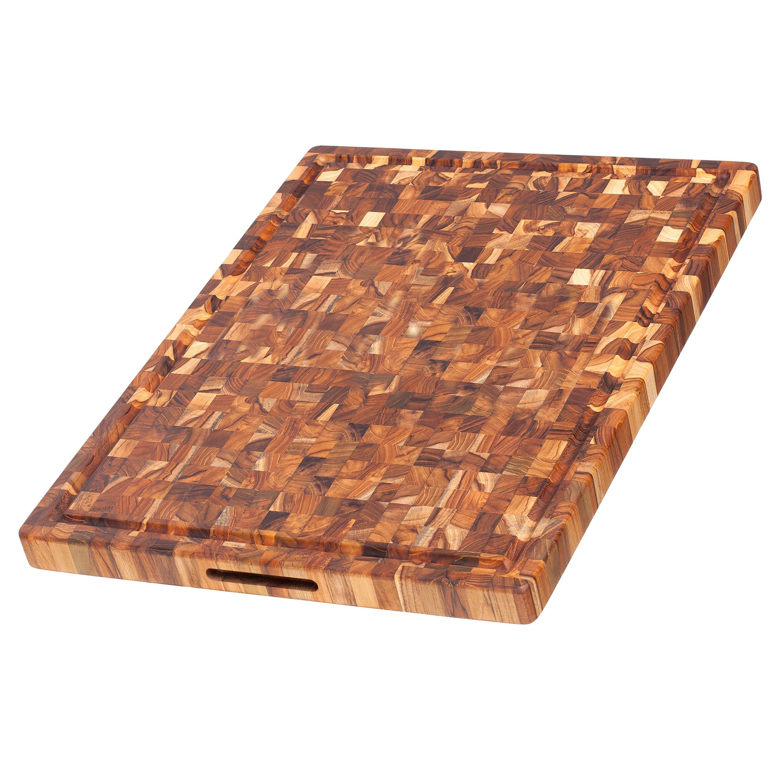 Teak Cutting Board - Rectangle Butcher Block With Juice Canal And Hand Grips (24 x 18 x 1.5 in.) - By Teakhaus by Teakhaus