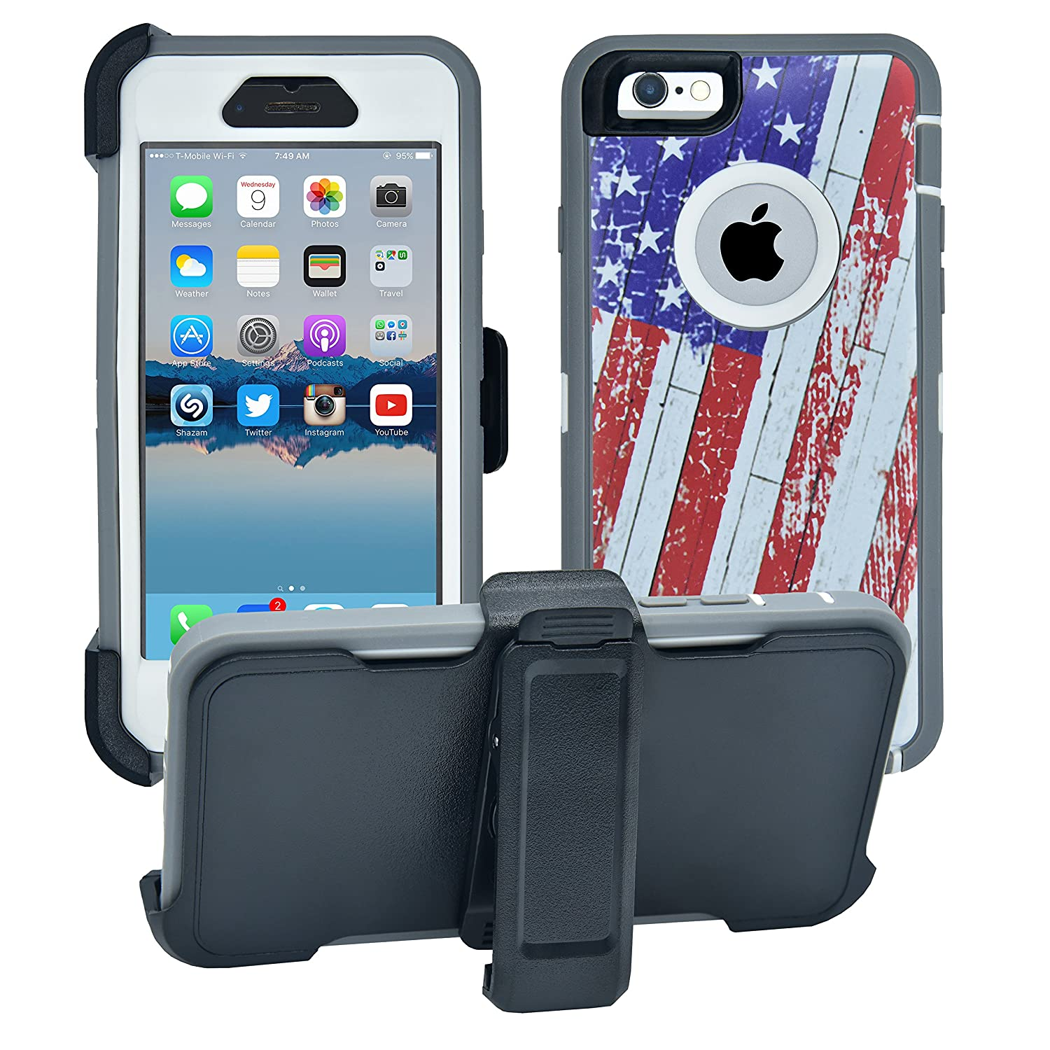 AlphaCell Cover compatible with iPhone 6/6S (NOT Plus) | 2-in-1 Screen Protector & Holster Case | Full Body Military Grade Protection with Carrying Belt Clip | Protective Drop-proof Shock-proof