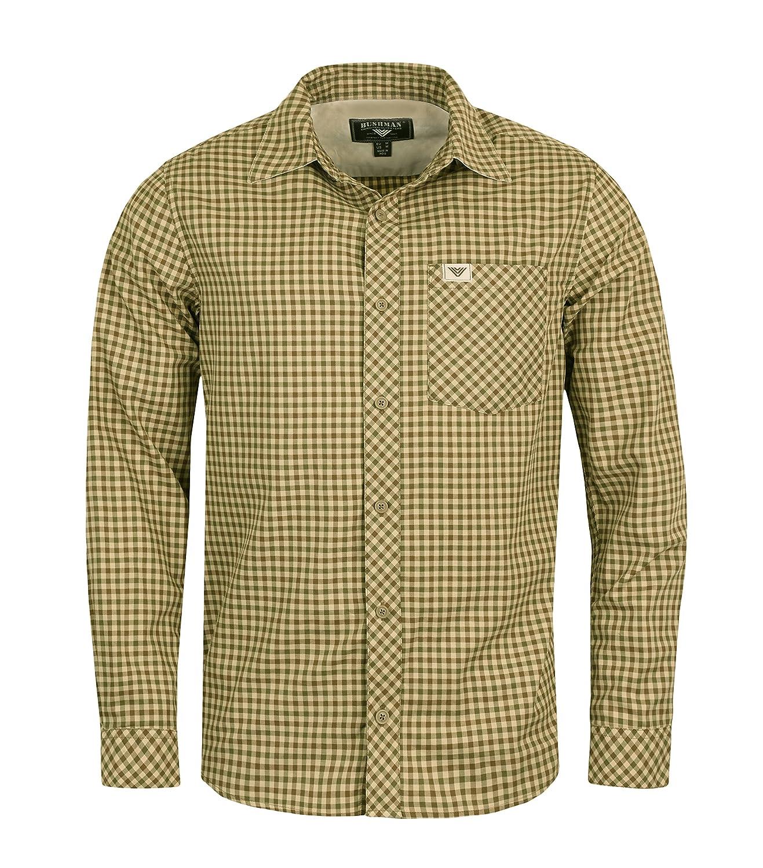 Bushman Herren Outdoor Langarm Hemd Domain aus Baumwolle Twill-Stoff Kariert Terracotta Olivgrün
