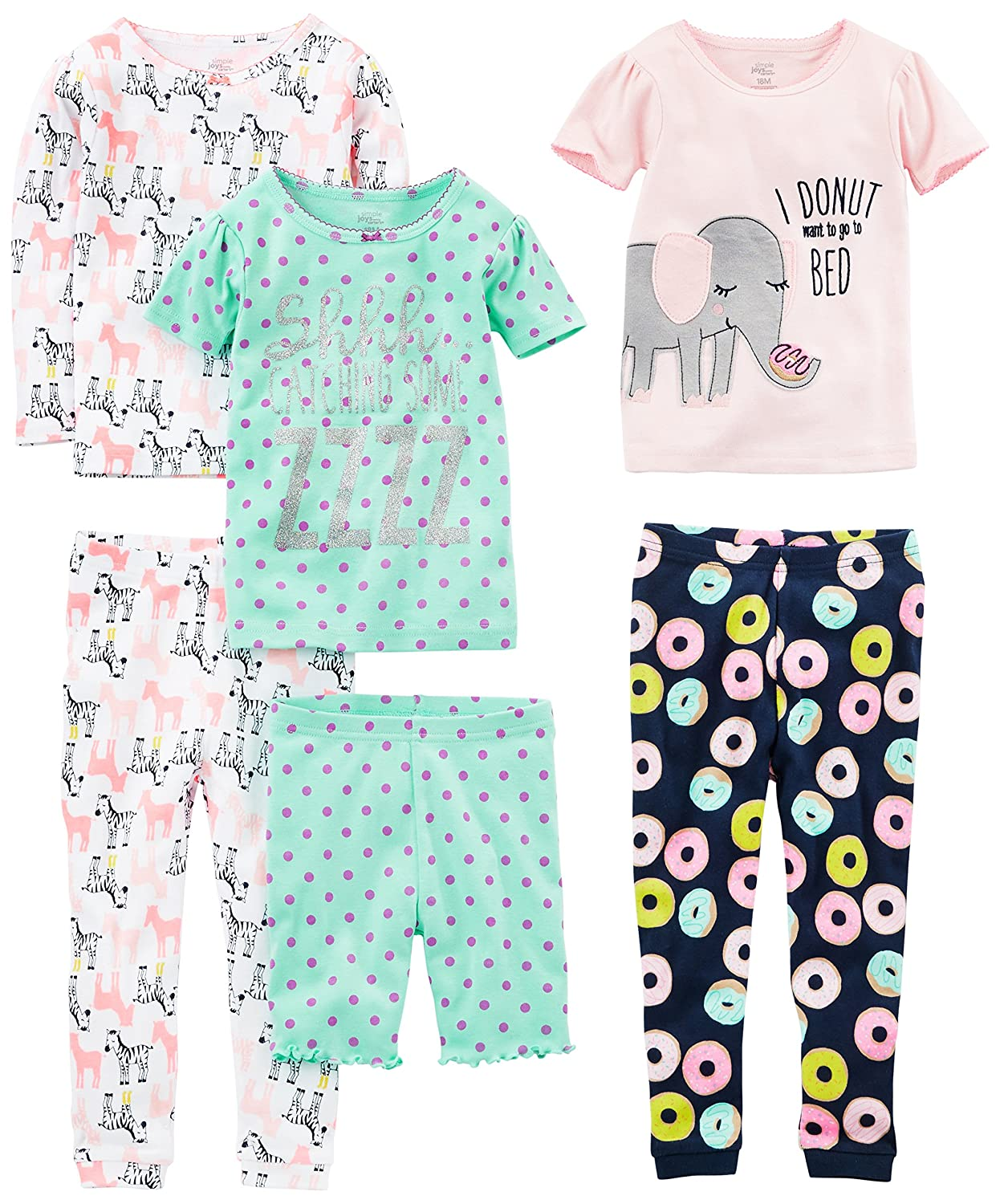 Simple Joys by Carter's Girls' 6-Piece Snug Fit Cotton Pajama Set Simple Joys by Carter's