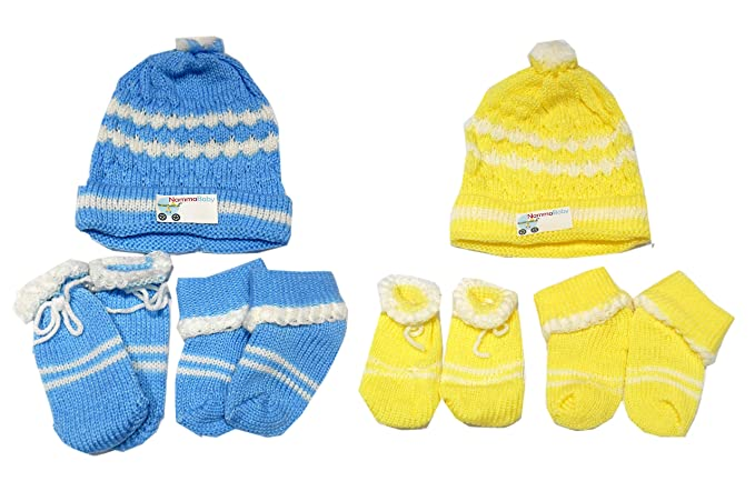 3afe027de NammaBaby Woolen Caps Mittens Booties Set for New Born Pack of 2 - (0-4  Months) (1 Blue 1 Yellow)