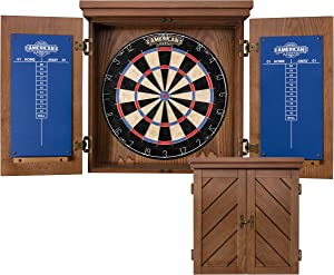 "American Legend Charleston Bristle Dartboard Cabinet Set - Includes 18"" Dartboard and 6 Steel Tip Darts"