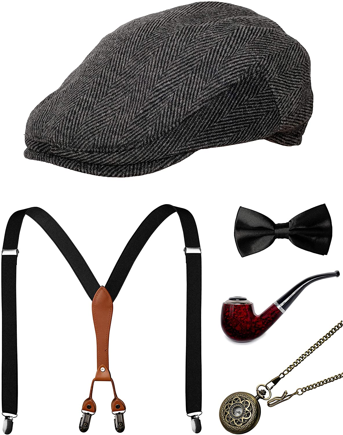 Amazon.com: 1920s Mens Accessories Gatsby Gangster Costume Accessories Set  Manhattan Fedora Hat Suspenders Bow Tie Pocket Watch (1-Grey Set): Clothing