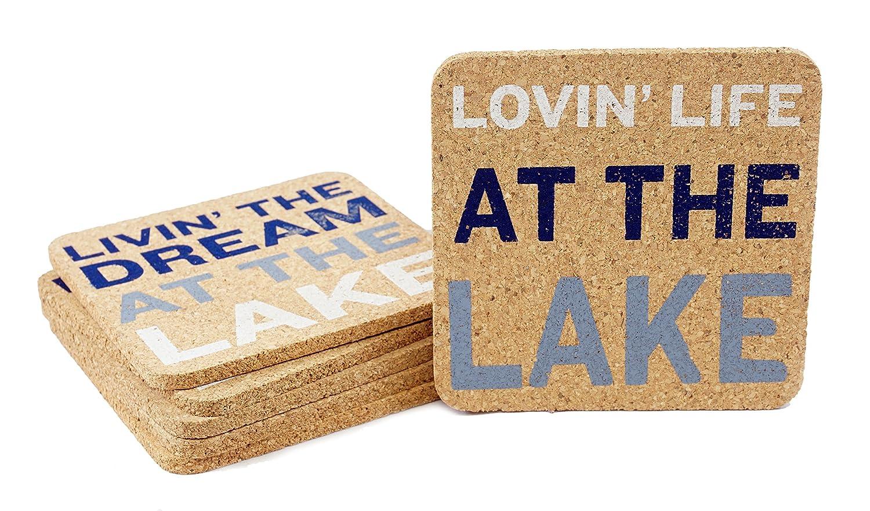 "DEI 50519 Lake Sayings Coasters, 4""sq, Mulitcolor"
