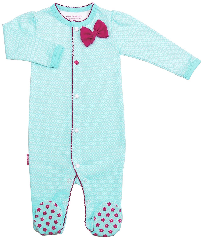 Amazon.com: Kushies Blue Banana Girls Floral Bow Footie Pajamas Footed Sleeper Baby Pajamas: Clothing