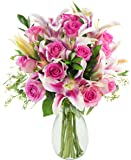 Bouquet of Pink Elegance: 12 Pink Roses, 5 Stargazer Lilies and Lush Greens with Vase - by KaBloom