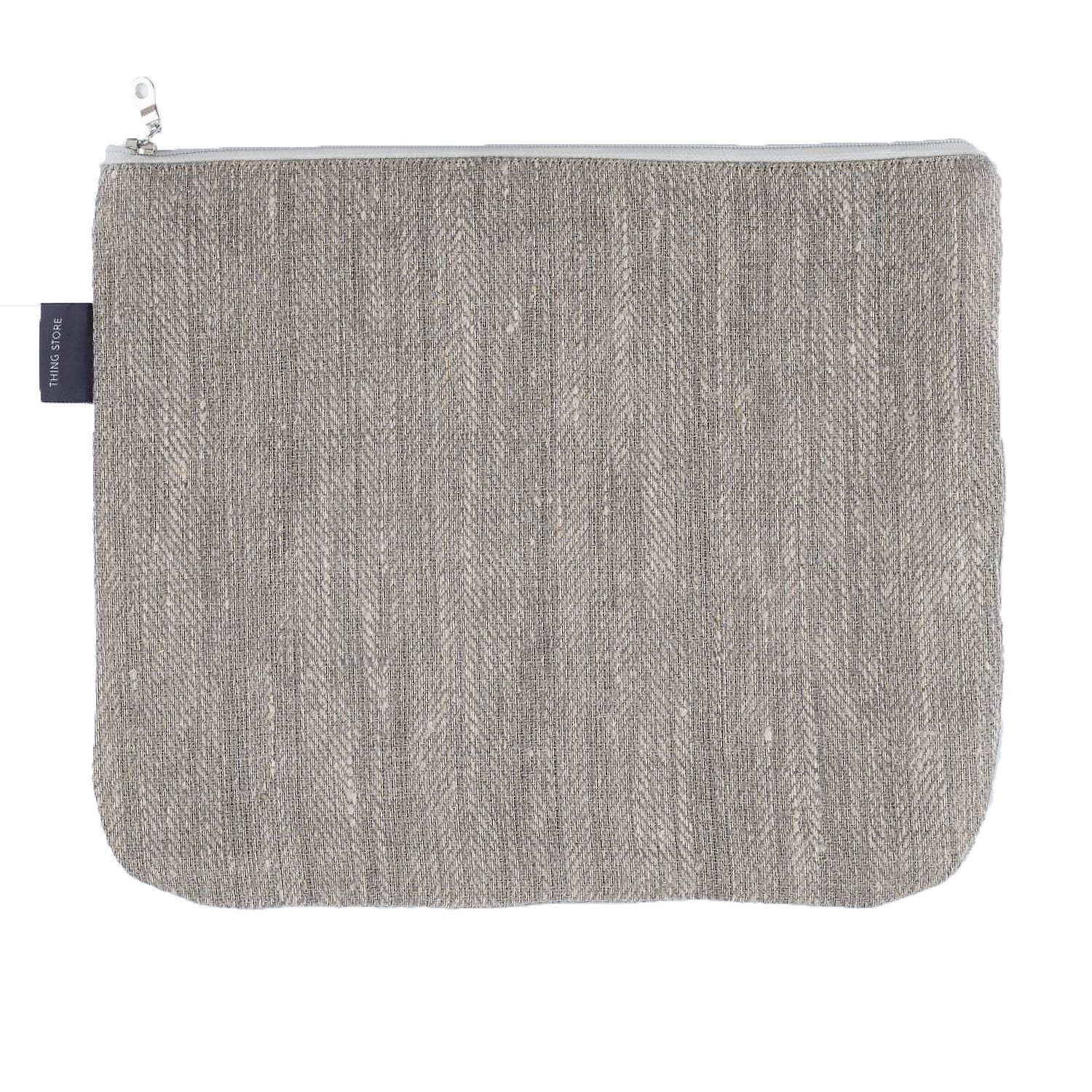 Large Canvas Toiletry Bag - Organic 100% Linen Makeup Bag (Gray) ThingStories