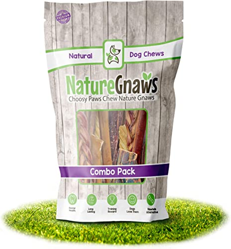 Nature Gnaws Variety Pack – 100 Natural Dog Chew Treats – Combo Pack of Single Ingredient Bully Sticks, Tendons and Jerky Chews for Dogs