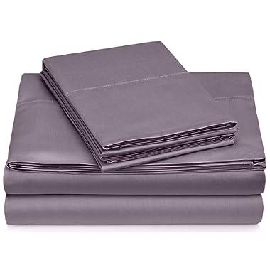 Pinzon 400-Thread-Count Egyptian Cotton Sateen Hemstitch Sheet Set - Queen, Pale Purple