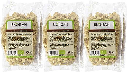 Bionsan Proteína de Soja Texturizada Gruesa Ecologica   6 Paquetes de 200 gr   Total 1200 gr