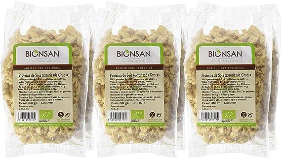 Bionsan Proteína de Soja Texturizada Gruesa Ecologica - 6 Bolsas de 200 gr - Total: 1200 gr