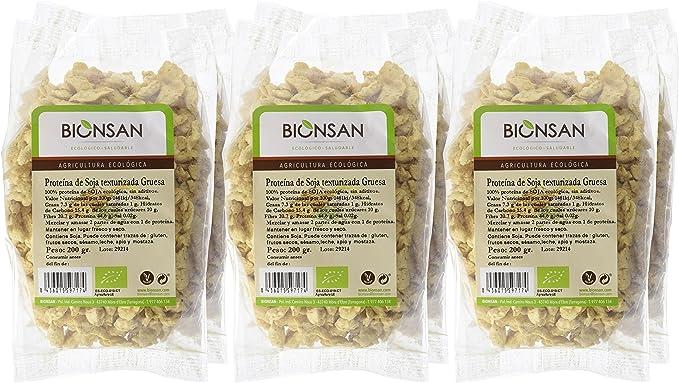 Bionsan Proteína de Soja Texturizada Gruesa Ecologica | 6 Paquetes de 200 gr | Total 1200 gr