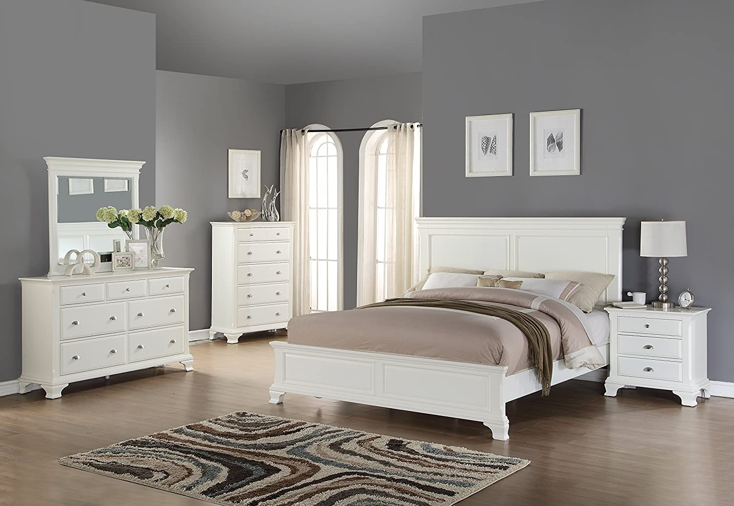 Amazon com roundhill furniture white wood bedroom furniture set includes bed dresser mirror night stand and chest queen kitchen dining
