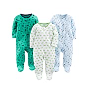 Simple Joys by Carter's Baby Boys' 3-Pack Sleep and Play, Sports, Cars, Dino without Cuffs, 0-3 Months