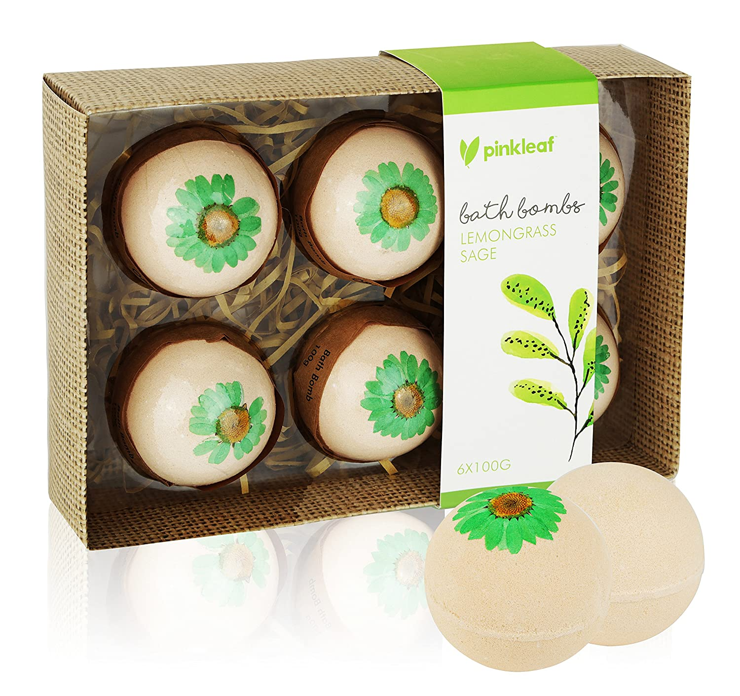 Lemongrass & Sage Essential Oil Bath Bombs Gift Set – Individually Wrapped Scented Aromatherapy Tub Fizzies Pampering Kit – Luxury Home Spa Fizzy Ball Drops 6 Pack, Best Gift Kit Ideas for Girlfriends, Women, Moms Pinkleaf