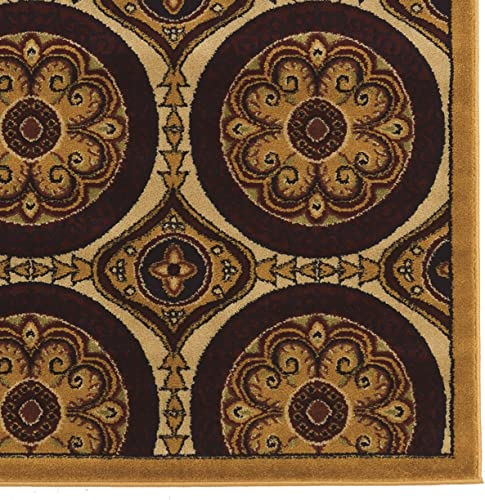Linon Elegance Collection Clara Beige Synthetic Rugs, 5 x 7 3 , Brown
