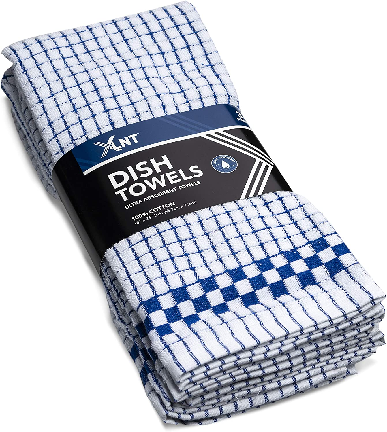 XLNT Blue Kitchen Towels (3 Pack) - 100% Cotton Dish Towels | Durable, Ultra Absorbent Dishcloths Sets of Hand Towels/Tea Towels for Everyday Scrubbing | Quick Drying Kitchen Washcloths Towel Set