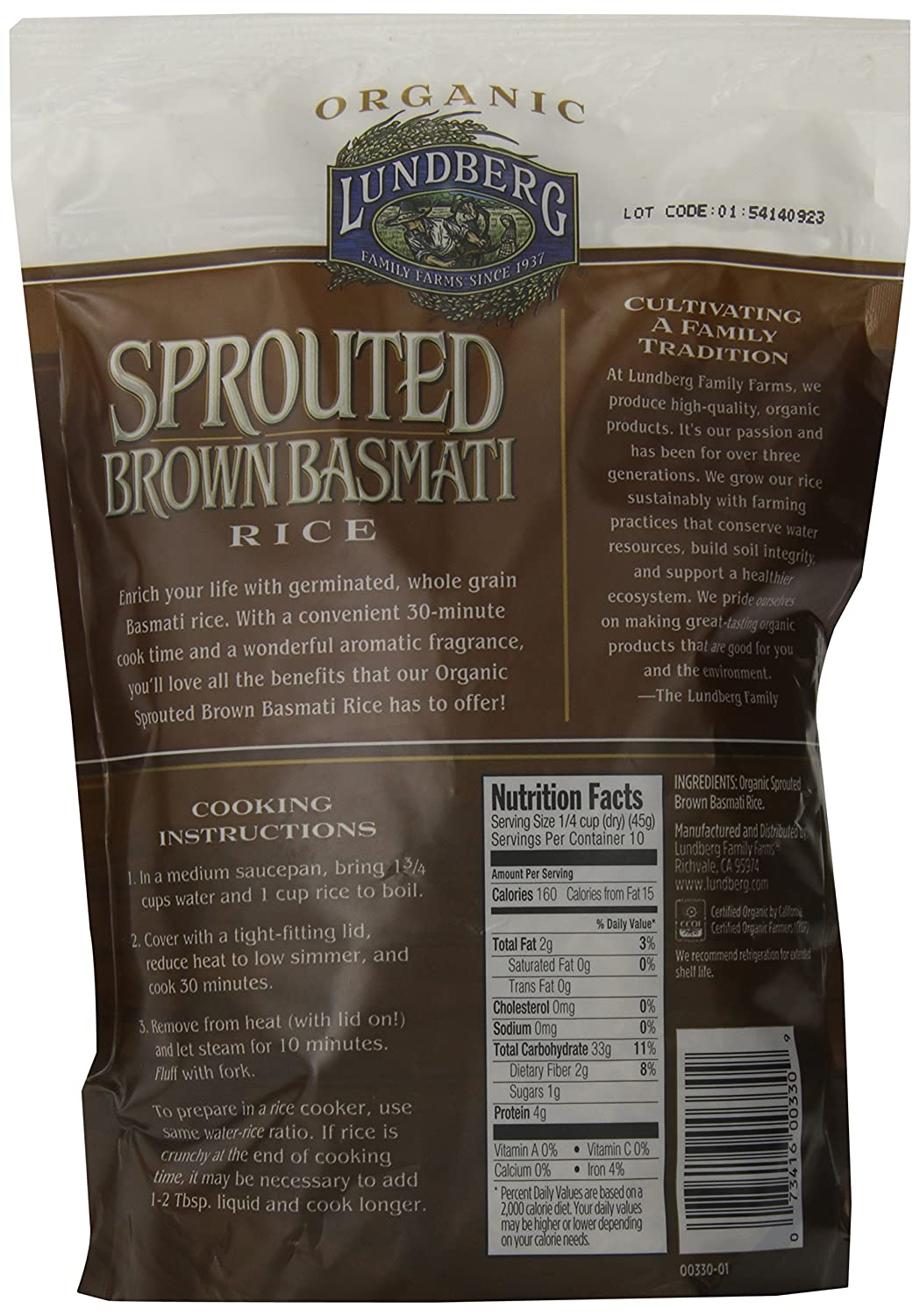 Amazon : Lundberg Sprouted Brown Basmati Rice, 16 Ounce : Grocery &  Gourmet Food
