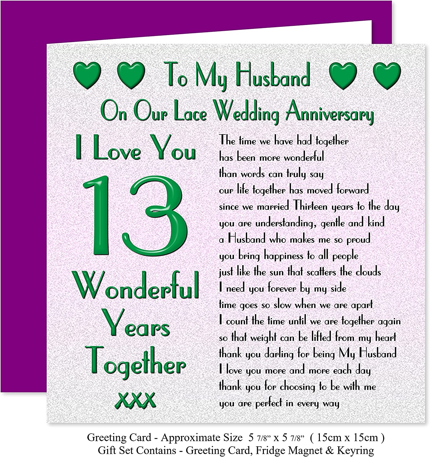My Husband 13th Wedding Anniversary Gift Set Card Keyring Fridge Magnet Present On Our Lace Anniversary 13 Years Sentimental Verse I Love You Amazon Co Uk Office Products