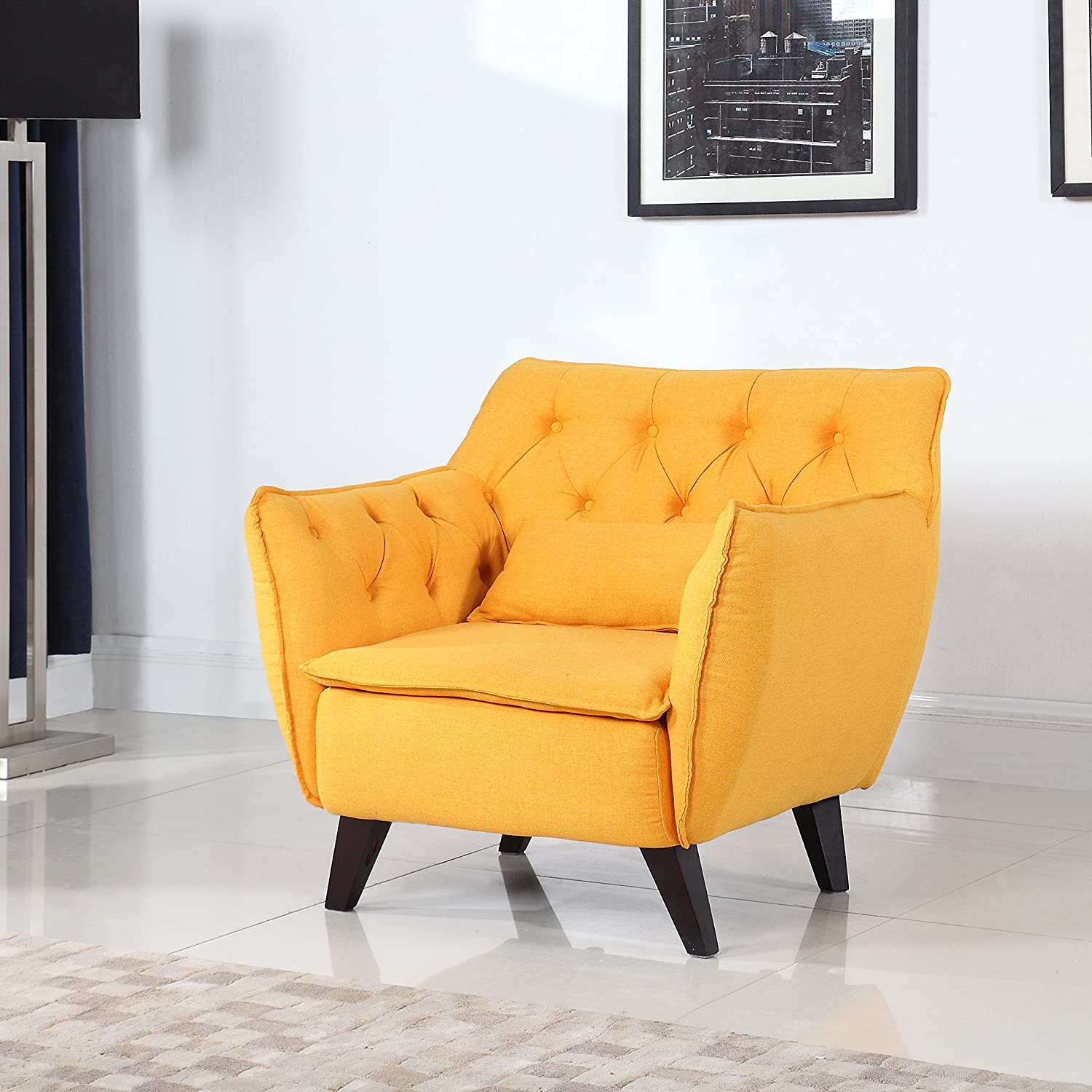 Mid Century Modern Tufted Linen Fabric Living Room Accent Chair (Yellow)