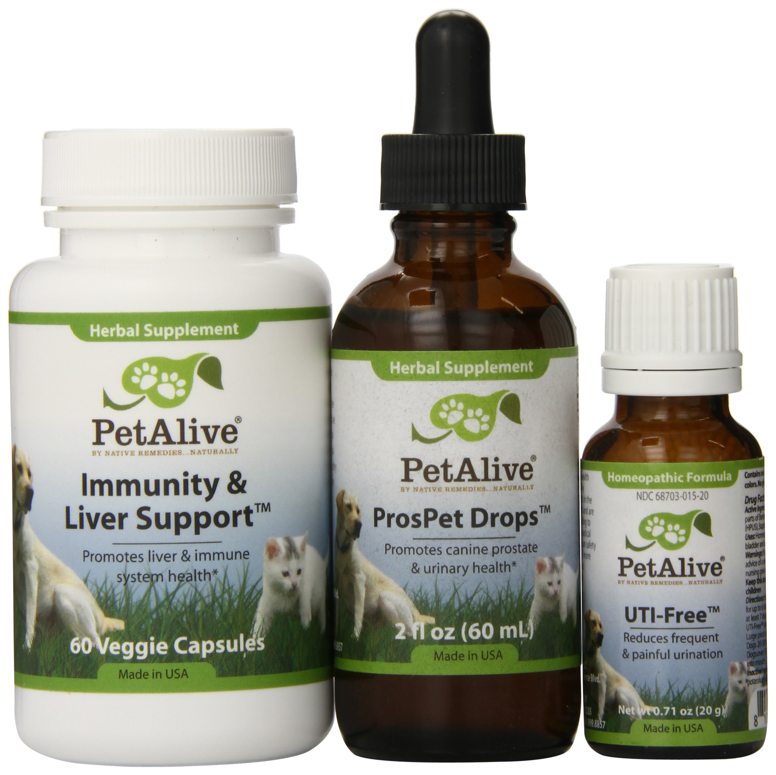 PetAlive ProsPet Drops, UTI-Free and Immunity & Liver Support UltraPack