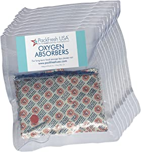 2000cc Oxygen Absorbers for Dehydrated Food and Emergency Long Term Food Storage - 100 with PackFreshUSA LTFS Guide