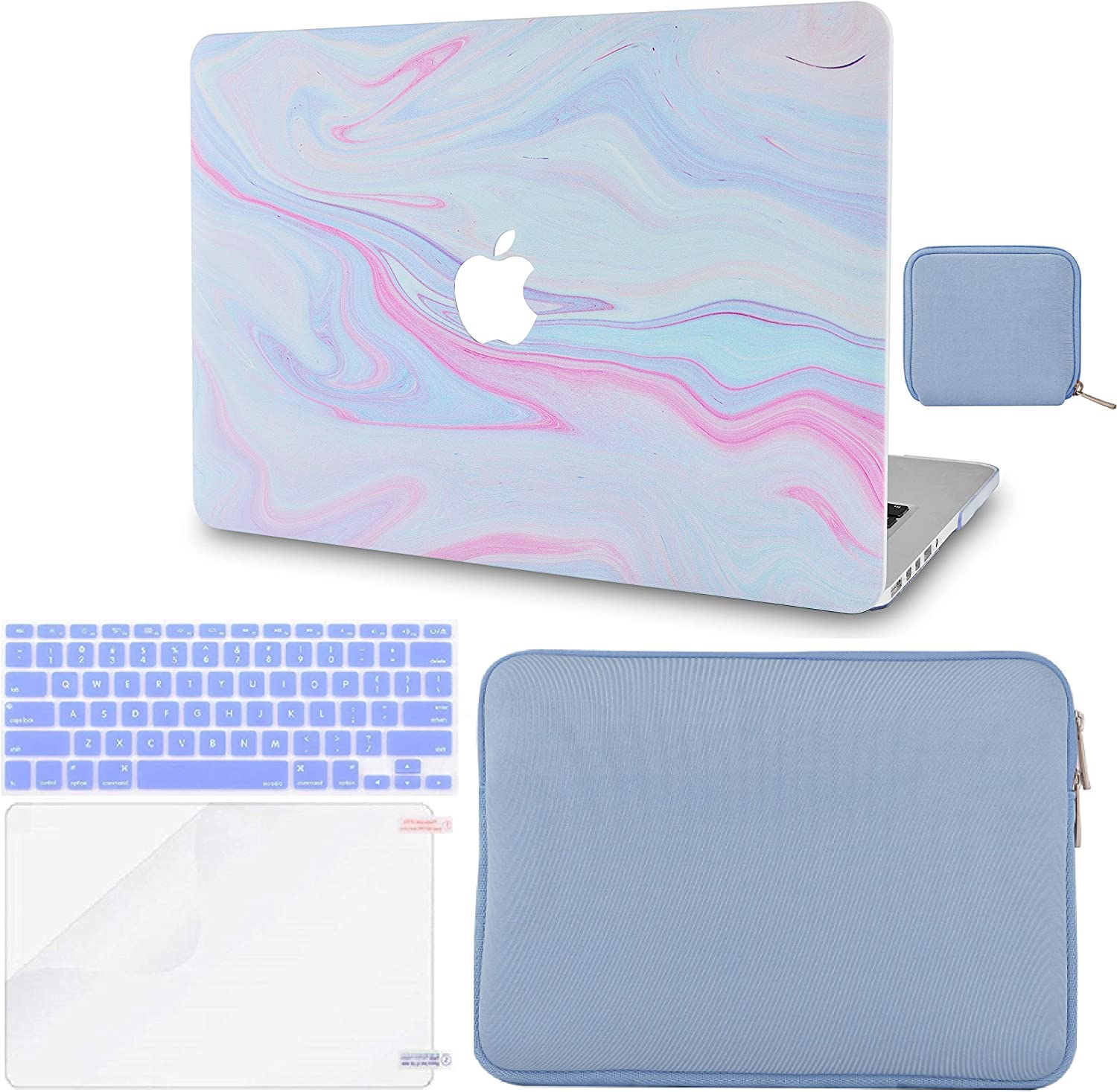 LuvCase 5 in 1 LaptopCase for MacBook Pro 16 Touch Bar (2020/2019) A2141 HardShellCover, Slim Sleeve, Pouch, Keyboard Cover & Screen Protector (Purple Marble with Pink Veins)