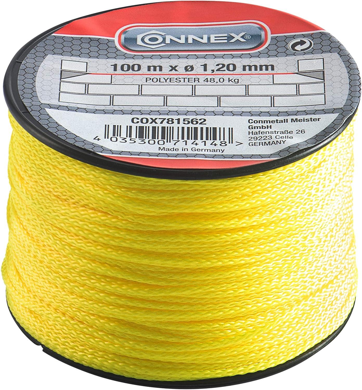 Connex COX781562 Cordeau de ma/çon 100 m Max 45 kg 1,2 mm Jaune