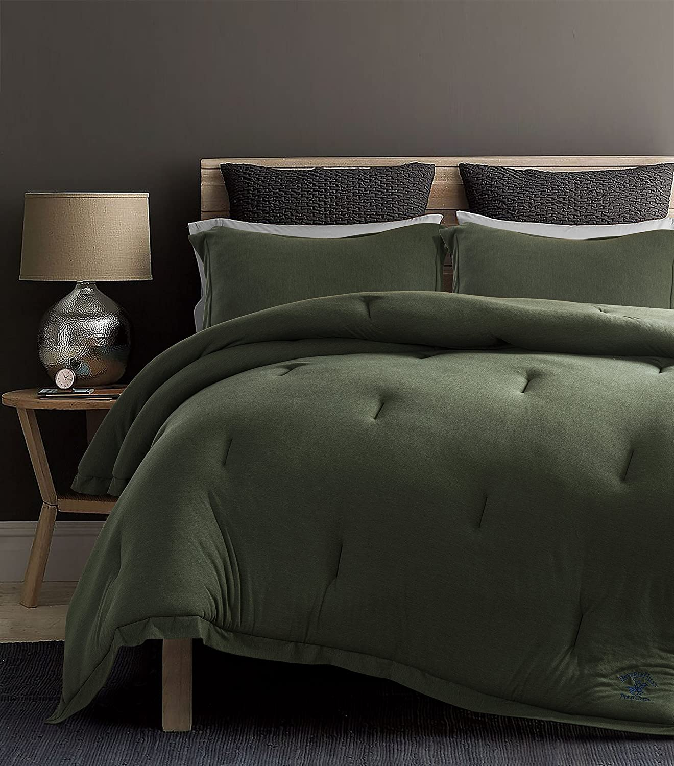 Beverly Hills Polo Club Olive Queen Cotton Rich Ultra-Soft Jersey Knit Comforter Set, 3 Piece