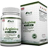 L-Arginine 4000-365 Vegetarian and Vegan Tablets, Up to One Year Supply of L Arginine HCL, 1000mg Per Tablet, Stronger Than Competing L-Arginine Capsules - by Nu U Nutrition